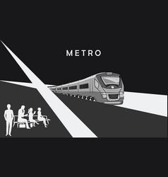 Train - passengers on the platform - minimalism vector