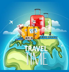 travel time concept different types travelling vector image