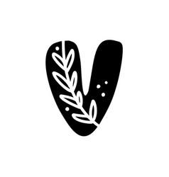 Vintage floral bold letter v logo spring classic vector
