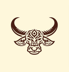 Water buffalo head mascot silhouette with tracery vector