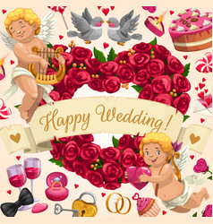 Wedding invitation angels flowers and love heart vector