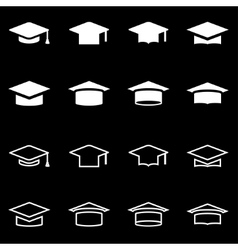 White academic cap icon set vector