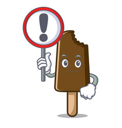 with sign chocolate ice cream character cartoon vector image