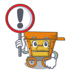 With sign wooden trolley character cartoon vector