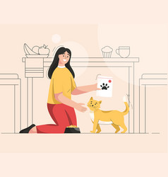 Woman is feeding cat at kitchen owner takes care vector