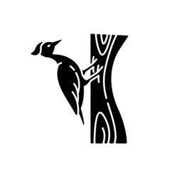 woodpecker black glyph icon vector image