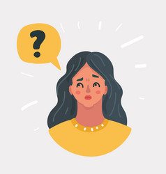 Young woman with question marks vector