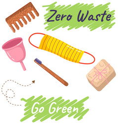 zero waste reusable personal hygiene products vector image