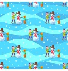 Children make a snowman winter vector image vector image