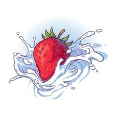 Delicious fresh strawberry falling into cream or vector image