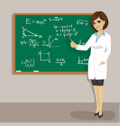 female math teacher standing next to blackboard vector image