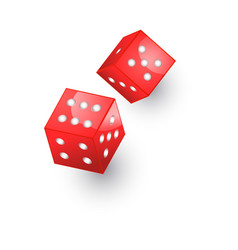 flat cartoon casino dice cubes isolated vector image