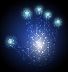 hand press hi tech button vector image vector image