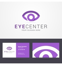 Logo and business card template with eye sign vector image vector image