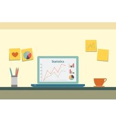 Flat workspace interior vector image