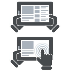 Hands holding tablet computer and open website vector image vector image