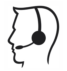 headset symbol vector image vector image
