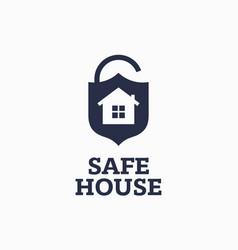 modern professional sign logo safe house vector image