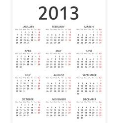 Simple 2013 calendar vector image
