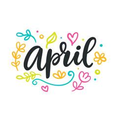 april spring modern calligraphy vector image