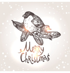 Christmas Card With Sketch Bullfinche vector image vector image
