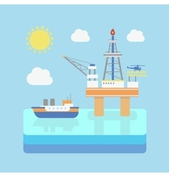 Drilling rig at sea oil platform gas fuel vector