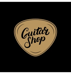 Golden Guitar shop hand written lettering logo vector image