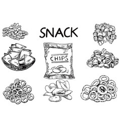 ink hand drawn sketch style snack set vector image vector image