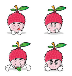 lychee cartoon character style set collection vector image vector image