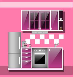 modern interior kitchen room in pink tones vector image