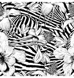 Monochrome seamless vintage flower pattern vector image vector image