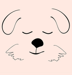 puppy sleep cute funny cartoon dog head vector image vector image