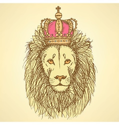 Sketch cute lion with crown in vintage style vector image vector image