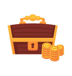 dower wooden chest with lock handle and golden vector image