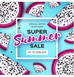 Exotic dragon fruit super summer sale banner in vector