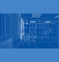interior sketch rendering of 3d vector image vector image