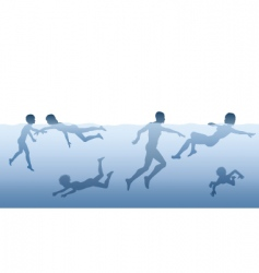 people swimming vector image