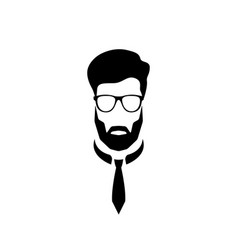 portrait of an office worker with glasses and a vector image