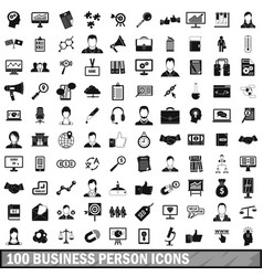 100 business person icons set simple style vector