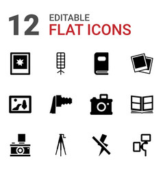 12 photograph icons vector