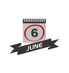 6 june calendar with ribbon vector
