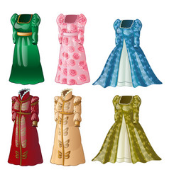 A set of vintage ladies long dresses isolated on vector