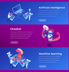 artificial intelligence isometric landing page vector image