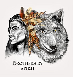 artistic portrait of indian and wolf vector image