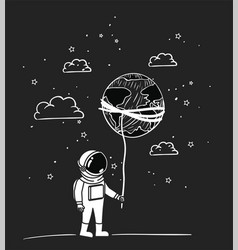 Astronaut draw with planet design vector