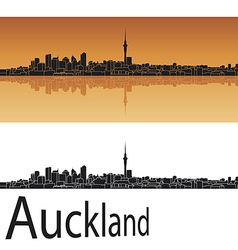 Auckland skyline in orange background vector image