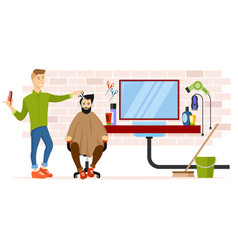 barber at workplace vector image