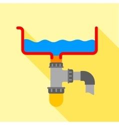 Bathroom siphon icon flat style vector
