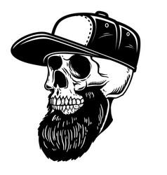 Bearded skull in baseball cap design element vector