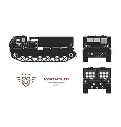 black silhouette missile vehicle vector image